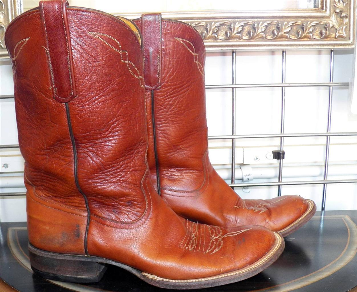Anderson Bean Whiskey Roper Toe Leather Sole Cowboy Boots 8 B Ladies 9-9.5