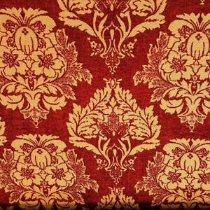 GOLD-RED-DAMASK-HEAVY-CHENILLE-UPHOLSTERY-BROCADE-FABRIC-58-034-BY-THE-YARD