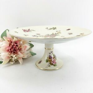 Vintage-Lefton-Cake-Stand-Pedestal-Plate-Hand-Painted-Butterflies-Flowers-Gold