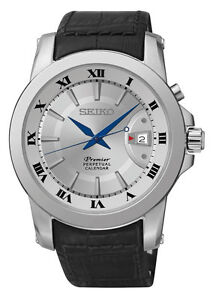 Seiko SNQ143 SNQ143P1 Premier Mens Perpetual Calendar Watch Leather RRP $599.00