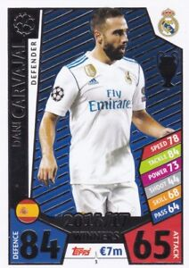 Dani-Carvajal-2017-18-Topps-Champions-League-Match-Attax-Cartes-a-Collectionner