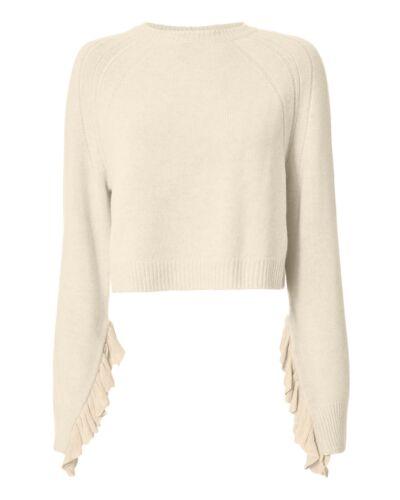 Helmut Lang Ruffle Sleeve Cropped Sweater Beige XS