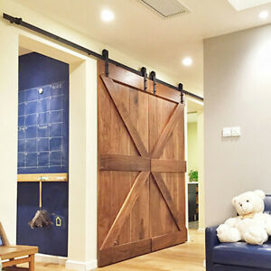 12ft Double Sliding Barn Door Hardware Set Kit With Track Roller Kitchen Closet 675500108473 Ebay