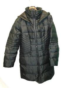 1-Madison-M-Black-Down-Coat-Long-Expedition-Parka-Zip-Hood-Quilted-Flattering-Md