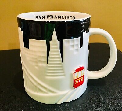 Starbucks San Francisco City Relief Coffee Mug Black White Cable Car 18 oz Mint