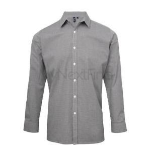 Premier-Workwear-Microcheck-Gingham-Long-Sleeve-Cotton-Shirt