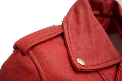 Biker Red Jacket Real Nappa 100 Lamb Leather Ladies 8wdY08