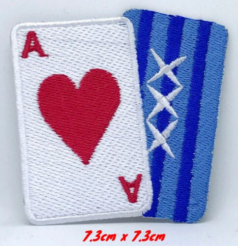 Poker Card Ace and Blue Embroidered Iron on Sew on Patch #1257