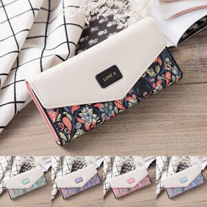 Womens-Ladies-Floral-Envelope-Clutch-Purses-Leather-Long-Handbag-Bag-Card-Wallet
