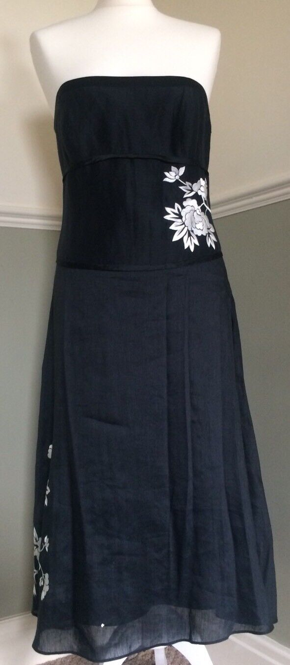 Monsoon Strapless Fit & Flare Dress Monochrome Embroidered Party Cruise