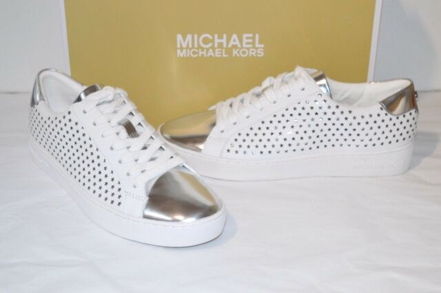 2dbfd6195597 New  140 Michael Kors Irving Lace Up Optic White Silver Lasered Star Leather