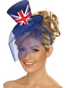 Royal Wedding Mini Top Hat w Veil Union Jack Fascinator Harry Meghan ... 6b9edccda97