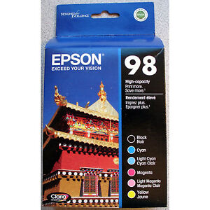 6-PACK-Epson-GENUINE-98-Black-Color-Ink-RETAIL-BOX-T098120-BCS-ARTISAN-835