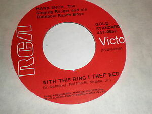 image is loading hank snow 45 with this ring i thee - With This Ring I Thee Wed