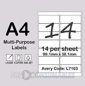 A4 SELF ADHESIVE PRINTER ADDRESS LABELS 200 SHEETS 14 PER SHEET L7163