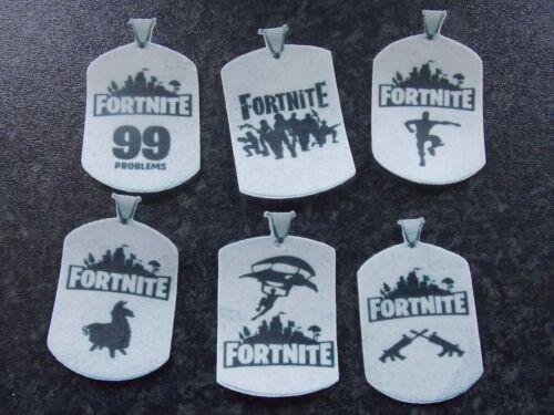 12 PRECUT Edible Fortnite Dog tags wafer//rice paper cake//cupcake toppers
