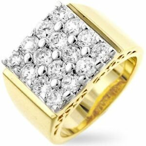 Men-039-s-Hollywood-14K-Yellow-Gold-Bonded-Simulated-Diamond-Size-12-Bling-Ring-G15