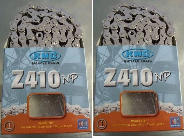 "KMC Z410 1//2/"" X 1//8/"" 112L BMX FIXED CRUISER SINGLE SPEED NICKEL BIKE CHAIN"