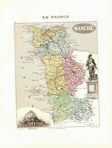 Carte Du Département De La Manche, Vers 1874. Migeon Fabrication Habile