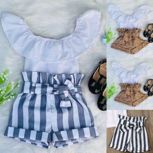 Kid Baby Girl T shirt Tops Ruffle Leopard Striped Shorts Pant Summer Clothes Set