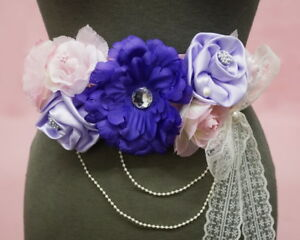 Pink Purple Maternity Sash For Mom To Be Baby Shower Flower Girl