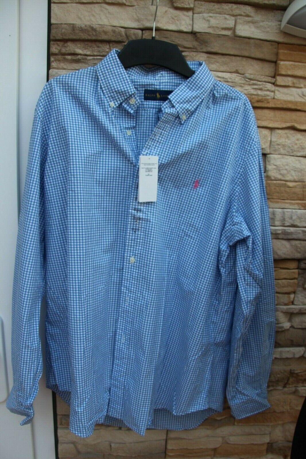 Hemd - Gr XL  - Herren Ralph Lauren -- blau-weiß kariert - Neuware