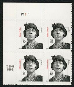 #3434 83c Edna Ferber, Placa Bloque [P11-1 Ul ], Nuevo Cualquier 5=