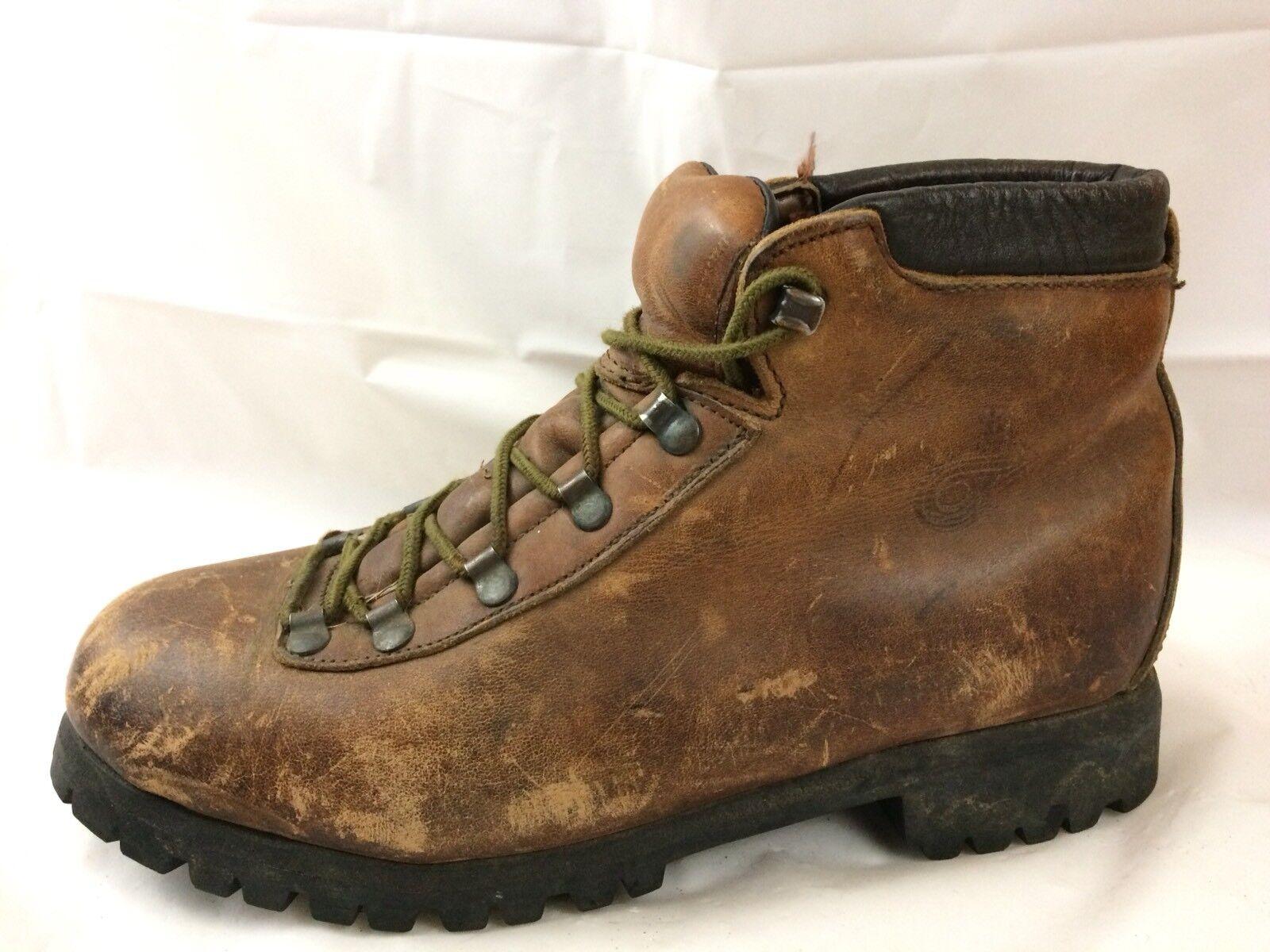 Vintage DEXTER Alpine Hiker Mens 8 Med Hiking Brown Leather Ankle Work Boots USA