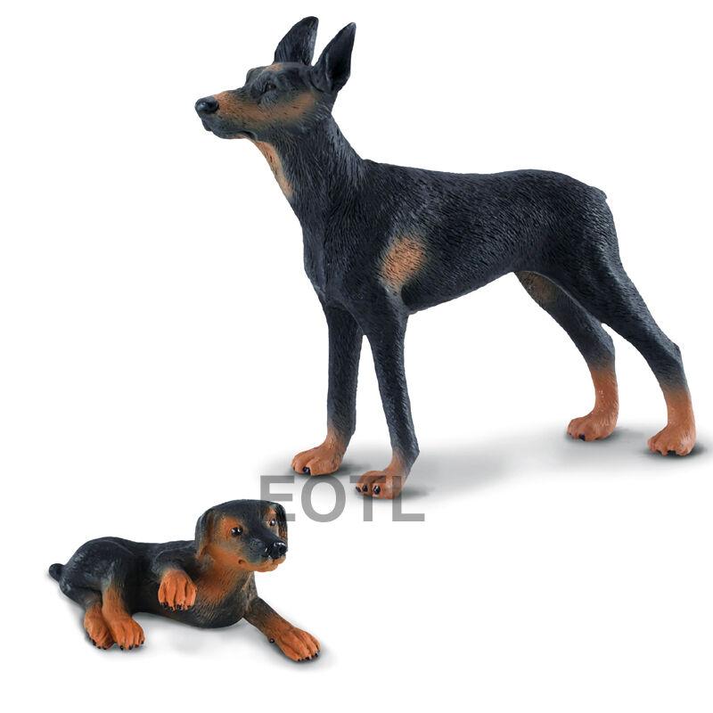 New Collecta 88086 88087 Doberman Pinscher Dog Puppy Group Set