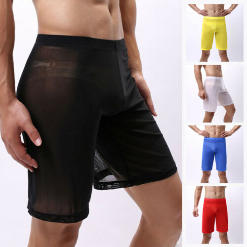 Mens Mesh See Through Boxer Briefs Shorts Underwear Long Leg Panty Underpants