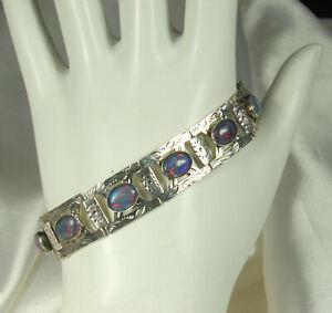 FIRE-OPAL-Art-Glass-Bracelet-HAND-WROUGHT-STERLING-10-Etched-Panels-7-034-Long-FAB
