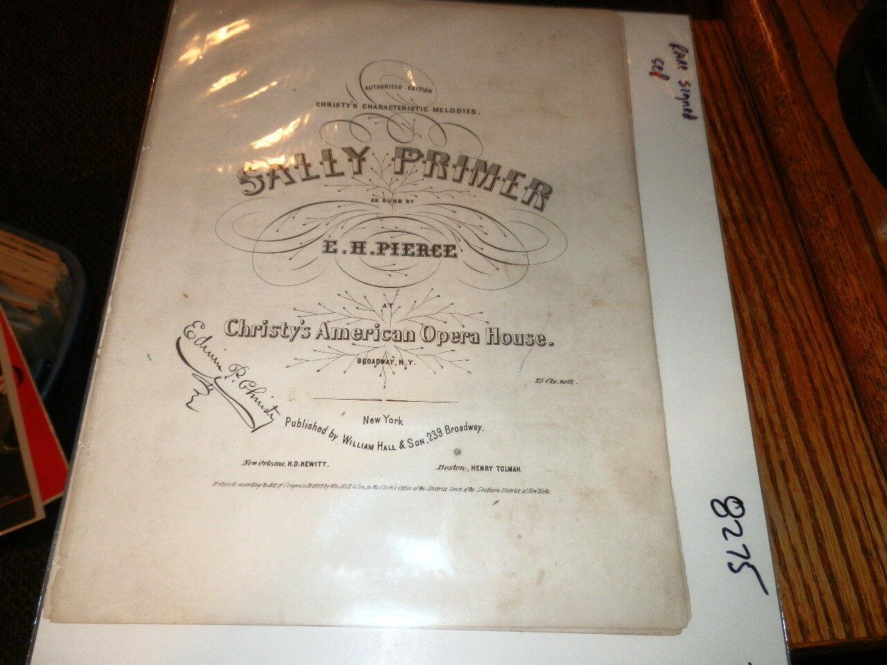 8275,Sally Primer,Signed,Christy's Opera House,1853 Sheet Music