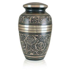 Large/Adult 228 Cubic Ins Black/Gold Royal Garden Brass Cremation Urn for Ashes