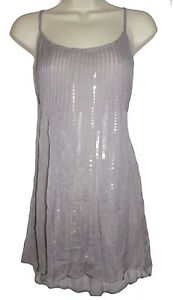 CHAN-LUU-Light-Gray-Sequin-Sparkly-Pleated-Cami-Spaghetti-Strap-Holiday-Top-M