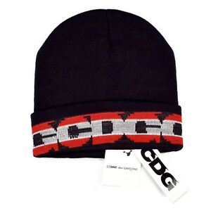 b85e96dd6 Details about NWT Comme des Garcons CDG Black Red Gray Logo Knit Beanie Hat  DS 2018 AUTHENTIC