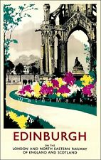 The Palace Of Holyroodhouse Edinburgh Railway Old Vintage Retro Advert Poster