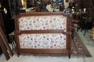 French-Antique-Carved-Oak-Louis-XVI-Upholstered-Queen-Size-Panel-Bed-Furniture