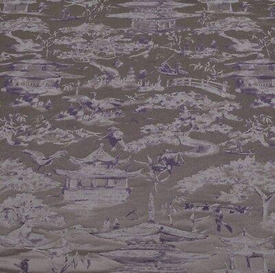 John Lewis Oriental Scene Furnishing Fabric RRP £40m Steel