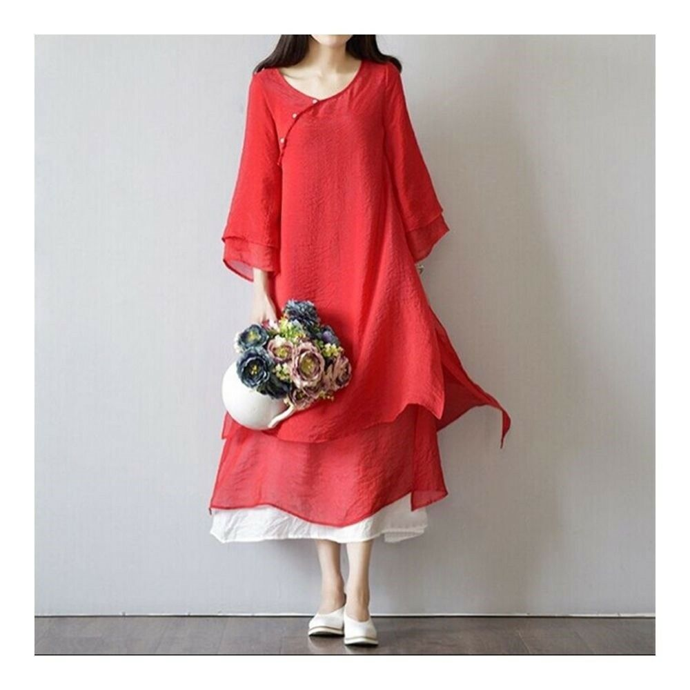 Mori Girl Silk Cotton Plate Button Dress   red   M