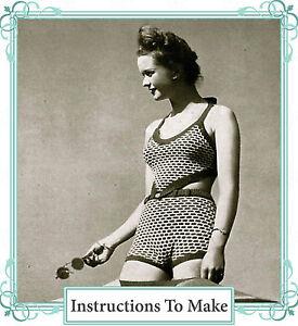 Vintage-Knitting-Pattern-1940s-bikini-buttoned-swimsuit-swimming-costume-pattern
