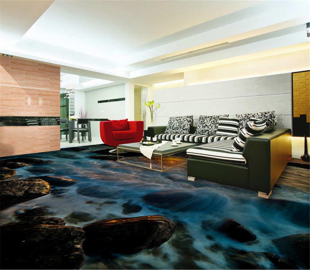 Die Weiße Gischt. 3D Fußboden Wandgemälde Foto Bodenbelag Tapete Zuhause Dekorat