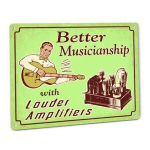 funny loud guitar amplifier sign w vintage tube amp head kit chassis speakers ebay. Black Bedroom Furniture Sets. Home Design Ideas