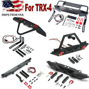Alloy-Front-Rear-Bumper-Winch-Mount-LED-Light-For-Traxxas-TRX-4-1-10-RC-Crawler