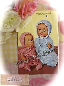986b6cee4 Vintage 50s Knitting Pattern Baby Dolls 6 Piece Outdoor Clothes Set ...