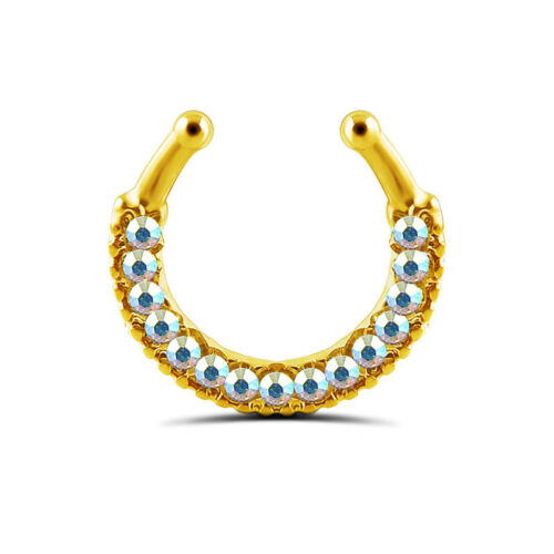 Non Piercing Clip On Fake Septum Ring Nose Ring Crystal Body Jewelry GQ