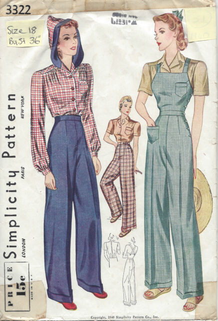 1940 Vintage Sewing Pattern 3322 B32-w27 Blouse Trouser Overalls ...