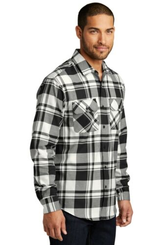 Mens Plaid Flannel Plus Size Shirt Chest Pockets Checkered Casual Cotton-blend