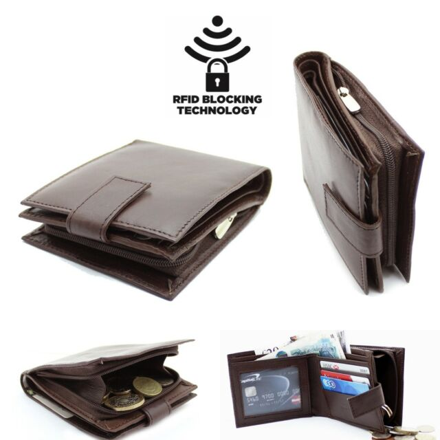 Coin Pouch /& ID Window Safe UK RFID Soft Real Leather Wallet Card Holder Pocket