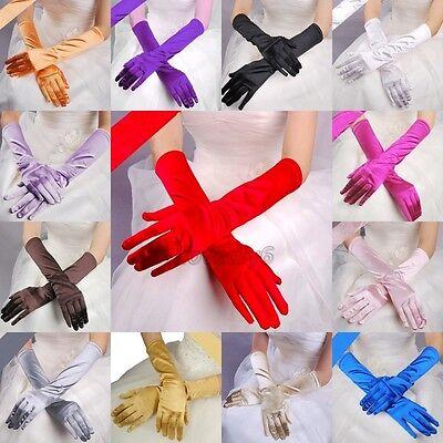 Women's Satin Long Gloves Opera Wedding Bridal  Party Costume Gloves 14.97''(L)