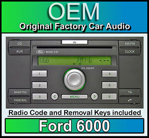 ford 6000 cd player ford transit car stereo headunit with radio removal keys ebay. Black Bedroom Furniture Sets. Home Design Ideas